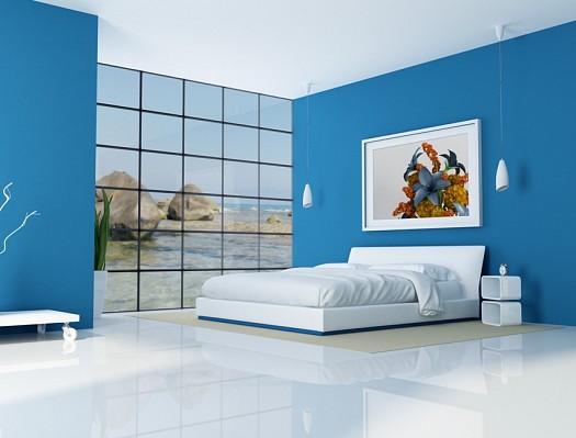 ديكورات واسعة باللون الأزرق لغرف النوم الجديدة